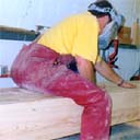 Peter, at Property Repair Systems, sanding a huge Timber Resin Splice